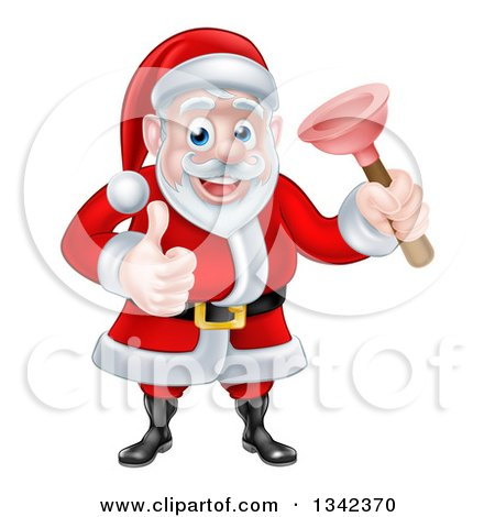 Clipart of a Happy Christmas Santa Claus Plumber Holding a Plunger and Giving a Thumb up 4 - Royalty Free Vector Illustration by AtStockIllustration