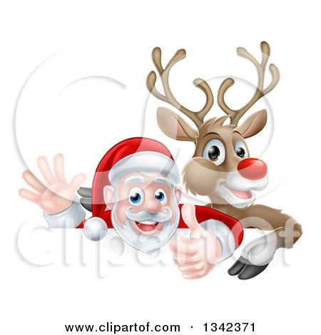Clipart of a Cartoon Christmas Red Nosed Reindeer and Santa Giving a Thumb up and Waving Above a Sign - Royalty Free Vector Illustration by AtStockIllustration