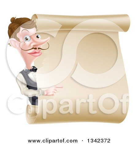 Clipart of a Cartoon Caucasian Male Waiter with a Curling Mustache, Pointing Around a Blank Scroll Sign - Royalty Free Vector Illustration by AtStockIllustration