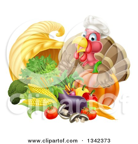 Clipart of a Chef Turkey Bird Giving a Thumb up over a Pumpkin and Harvest Cornucopia 2 - Royalty Free Vector Illustration by AtStockIllustration