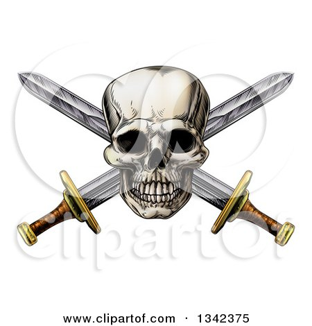 Clipart of an Engraved Pirate Skull over Crossed Swords - Royalty Free Vector Illustration by AtStockIllustration