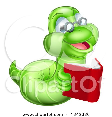 Clipart of a Bespectacled Green Earthworm Holding a Book - Royalty Free Vector Illustration by AtStockIllustration