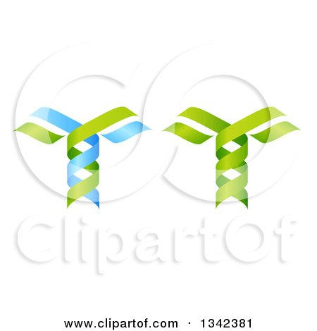 Clipart of 3d Green and Blue DNA Double Helix Trees 3 - Royalty Free Vector Illustration by AtStockIllustration