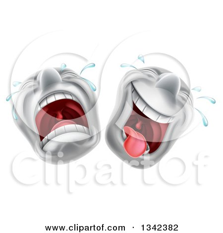 Clipart of Cartoon Trajedy and Comedy Theater Emoji Emoticons - Royalty Free Vector Illustration by AtStockIllustration