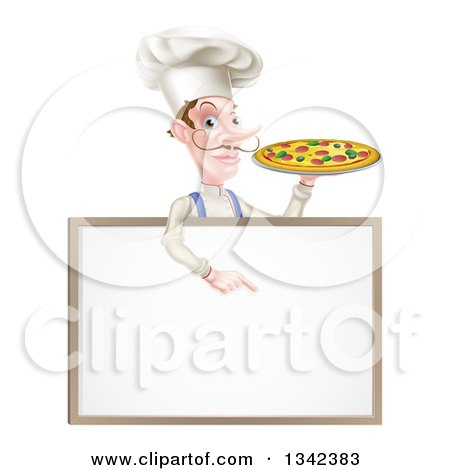 Clipart of a White Male Chef with a Curling Mustache, Holding a Pizza and Pointing down over a Blank Menu Sign Board - Royalty Free Vector Illustration by AtStockIllustration