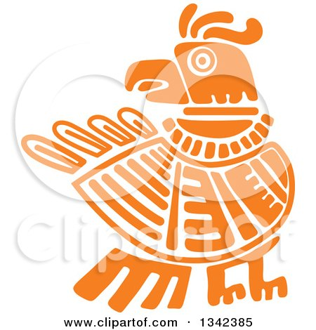 Clipart of an Orange Mayan Aztec Hieroglyph Art of an Eagle - Royalty Free Vector Illustration by Vector Tradition SM