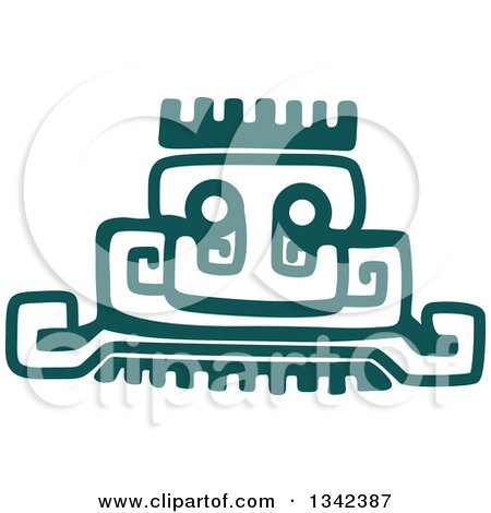 Clipart of a Teal Mayan Aztec Hieroglyph Art of a Pyramid or Face - Royalty Free Vector Illustration by Vector Tradition SM