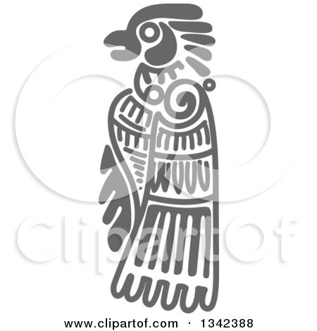 Clipart of a Gray Mayan Aztec Hieroglyph Art of an Eagle - Royalty Free Vector Illustration by Vector Tradition SM