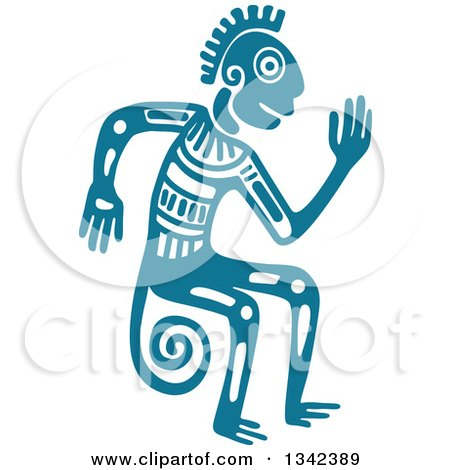 Clipart of a Teal Mayan Aztec Hieroglyph Art of a Tribal Man, Monkey or God - Royalty Free Vector Illustration by Vector Tradition SM