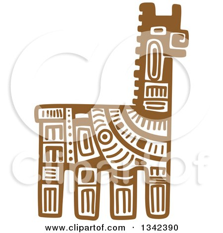 Clipart of a Brown Mayan Aztec Hieroglyph Art of a Llama - Royalty Free Vector Illustration by Vector Tradition SM