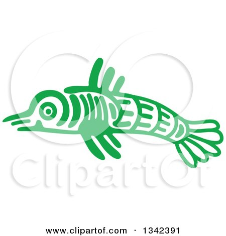 Clipart of a Green Mayan Aztec Hieroglyph Art of a Fish - Royalty Free Vector Illustration by Vector Tradition SM