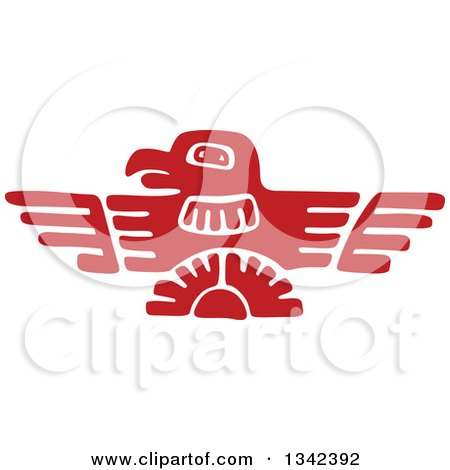 Clipart of a Red Mayan Aztec Hieroglyph Art of an Eagle - Royalty Free Vector Illustration by Vector Tradition SM