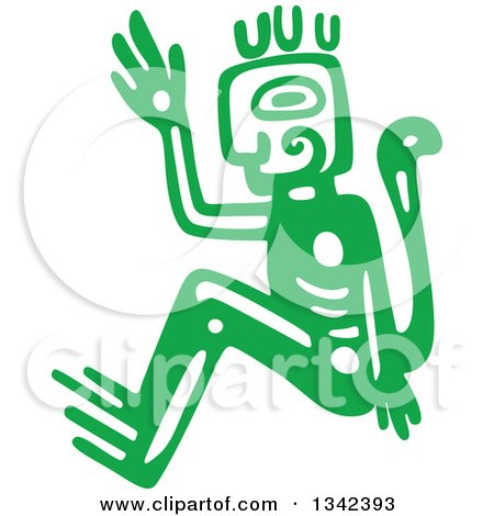Clipart of a Green Mayan Aztec Hieroglyph Art of a Tribal Man or God - Royalty Free Vector Illustration by Vector Tradition SM