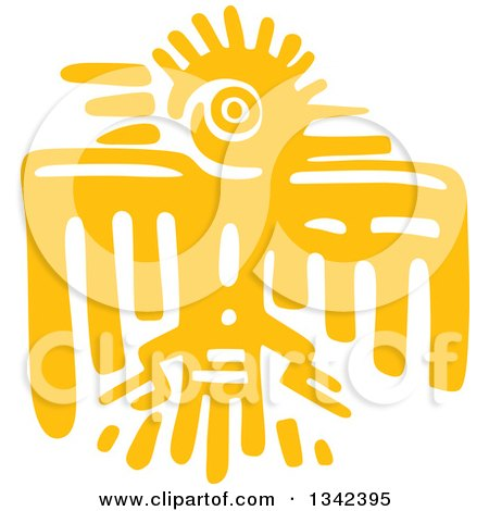 Clipart of a Yellow Mayan Aztec Hieroglyph Art of an Eagle - Royalty Free Vector Illustration by Vector Tradition SM