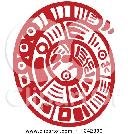 Red Mayan Aztec Hieroglyph Art of a Coiled Snake Posters, Art Prints