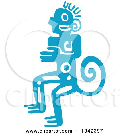 Clipart of a Blue Mayan Aztec Hieroglyph Art of a Tribal Man, Monkey or God - Royalty Free Vector Illustration by Vector Tradition SM