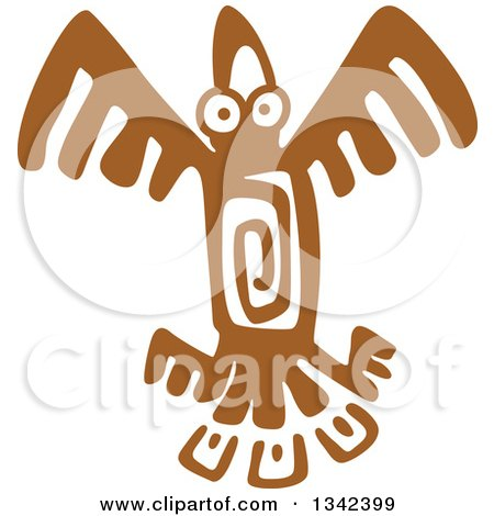 Clipart of a Brown Mayan Aztec Hieroglyph Art of an Eagle Flying - Royalty Free Vector Illustration by Vector Tradition SM