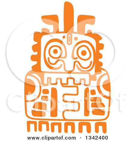 Clipart of an Orange Mayan Aztec Hieroglyph Art of a Totem - Royalty Free Vector Illustration by Vector Tradition SM