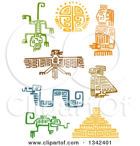 Clipart of Mayan Aztec Hieroglyph Art of Lizards, Eagles, Sun, a God, Snake and Pyramid - Royalty Free Vector Illustration by Vector Tradition SM