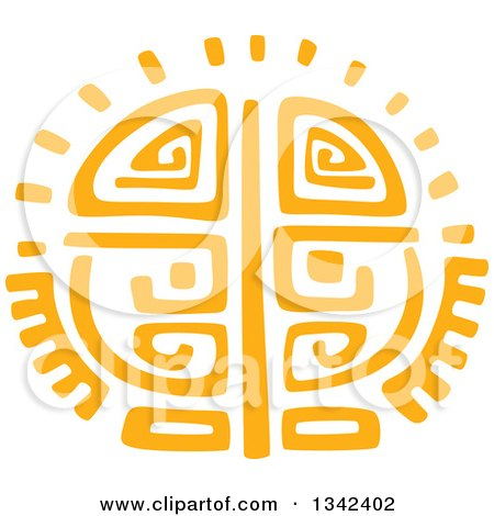 Clipart of a Yellow Mayan Aztec Hieroglyph Art of the Sun - Royalty Free Vector Illustration by Vector Tradition SM