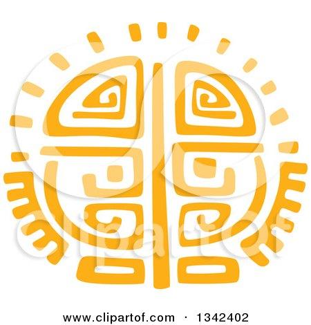 Yellow Mayan Aztec Hieroglyph Art of the Sun Posters, Art Prints