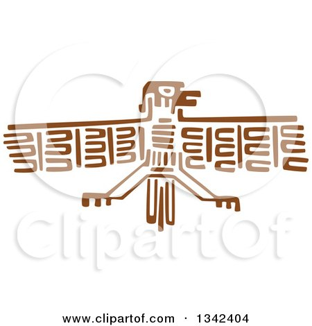 Clipart of a Brown Mayan Aztec Hieroglyph Art of a Flying Eagle - Royalty Free Vector Illustration by Vector Tradition SM