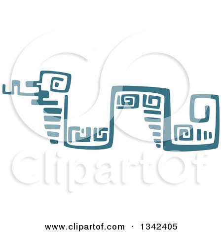 Clipart of a Teal Mayan Aztec Hieroglyph Art of a Snake - Royalty Free Vector Illustration by Vector Tradition SM