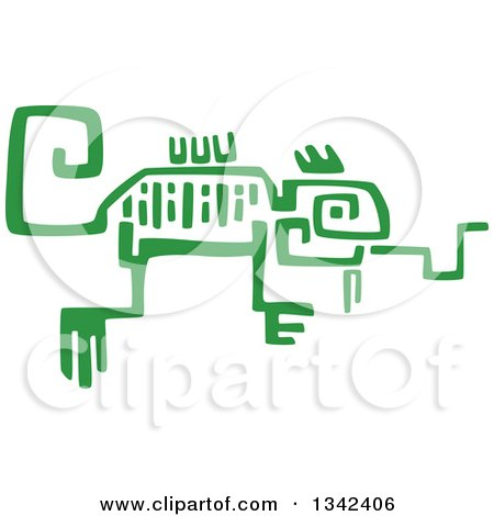 Clipart of a Green Mayan Aztec Hieroglyph Art of a Chameleon - Royalty Free Vector Illustration by Vector Tradition SM