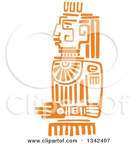 Clipart of a Mayan Aztec Hieroglyph Art of an Orange Sun God Idol - Royalty Free Vector Illustration by Vector Tradition SM