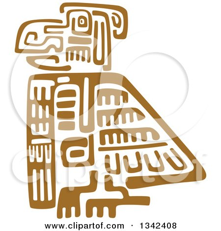 Clipart of a Brown Mayan Aztec Hieroglyph Art of an Eagle - Royalty Free Vector Illustration by Vector Tradition SM