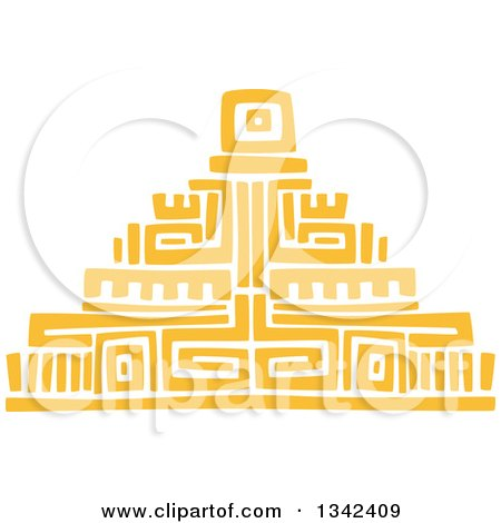 Clipart of a Yellow Mayan Aztec Hieroglyph Art of a Pyramid - Royalty Free Vector Illustration by Vector Tradition SM