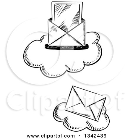 Clipart of Black and White Sketched Mail Envelopes over Clouds - Royalty Free Vector Illustration by Vector Tradition SM