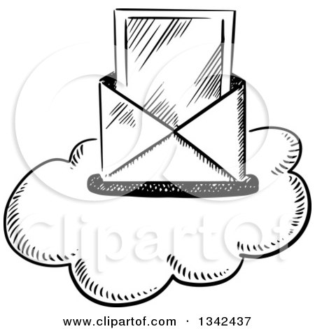 Clipart of a Black and White Sketched Mail Envelope and Letter over a Cloud - Royalty Free Vector Illustration by Vector Tradition SM