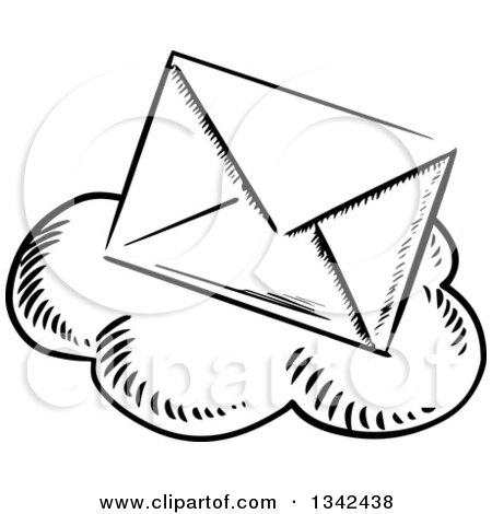 Clipart of a Black and White Sketched Mail Envelope over a Cloud - Royalty Free Vector Illustration by Vector Tradition SM
