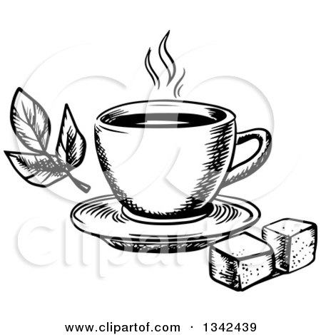 Clipart of a Black and White Sketched Hot Tea Cup, Sugar Cubes and Leaves - Royalty Free Vector Illustration by Vector Tradition SM