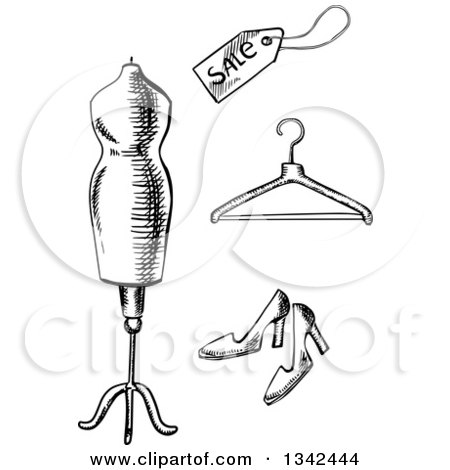 Clipart of a Black and White Sketched Mannequin, Sales Tag, Hanger and High Heels - Royalty Free Vector Illustration by Vector Tradition SM