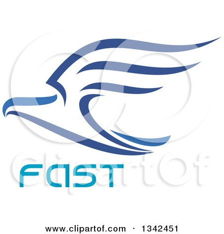 Clipart of a Blue Flying Eagle over Fast Text - Royalty Free Vector Illustration by Vector Tradition SM