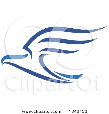 Clipart of a Blue Flying Eagle 2 - Royalty Free Vector Illustration by Vector Tradition SM