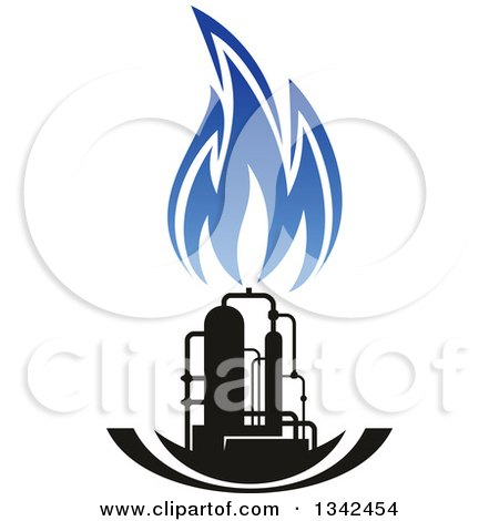 Clipart of a Black and Blue Natural Gas and Flame Design 22 - Royalty Free Vector Illustration by Vector Tradition SM