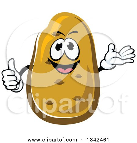 Clipart of a Cartoon Russet Potato Character Presenting and Giving a Thumb up - Royalty Free Vector Illustration by Vector Tradition SM