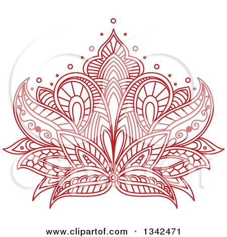 Clipart Of A Beautiful Red Henna Lotus Flower 6 Royalty Free