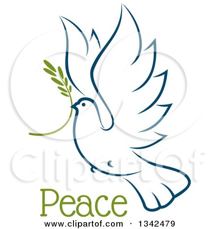 Clipart of a Sketched Flying Navy Blue Peace Dove with a Branch and Text 4 - Royalty Free Vector Illustration by Vector Tradition SM