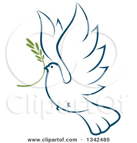 Clipart of a Sketched Flying Navy Blue Peace Dove with a Branch 4 - Royalty Free Vector Illustration by Vector Tradition SM