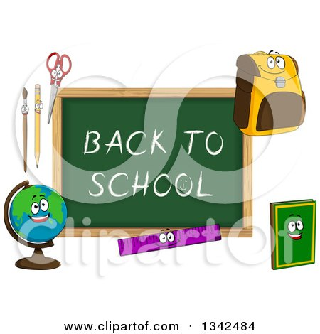 Clipart of a Cartoon Chalkboard with Back to School Text and Characters 2 - Royalty Free Vector Illustration by Vector Tradition SM