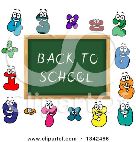 Clipart of a Cartoon Chalkboard with Back to School Text and Number Characters - Royalty Free Vector Illustration by Vector Tradition SM
