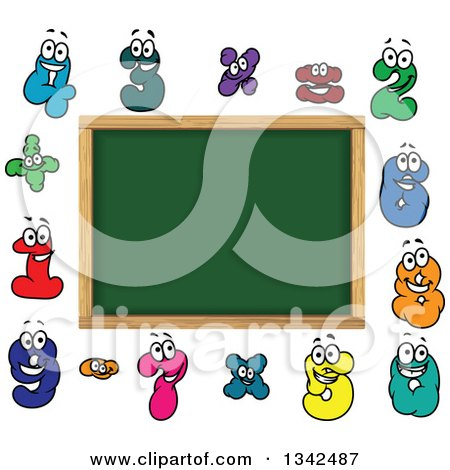 Clipart of a Cartoon Blank School Chalkboard with Number Characters - Royalty Free Vector Illustration by Vector Tradition SM