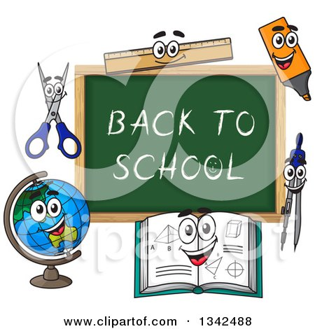 Clipart of a Cartoon Chalkboard with Back to School Text and Characters - Royalty Free Vector Illustration by Vector Tradition SM