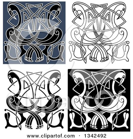 Clipart of Celtic Knot Crane or Heron Designs 2 - Royalty Free Vector Illustration by Vector Tradition SM
