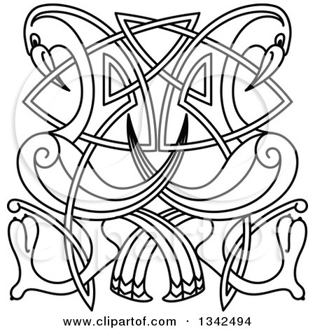 Clipart of Black and White Lineart Celtic Knot Cranes or Herons - Royalty Free Vector Illustration by Vector Tradition SM