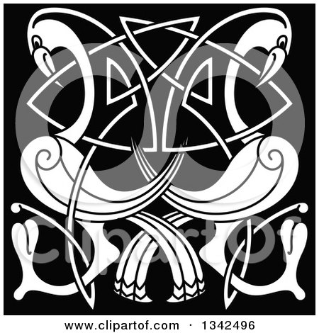 Clipart of White Celtic Knot Cranes or Herons on Black - Royalty Free Vector Illustration by Vector Tradition SM